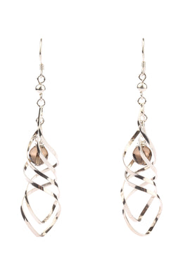 Smoky Quartz Swirl Silver Earrings