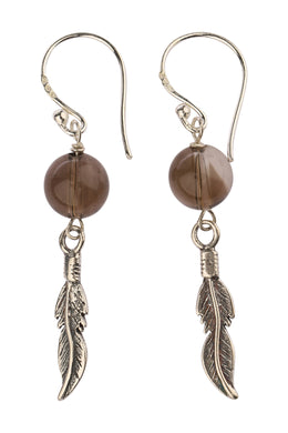 Feather & Smoky Quartz Silver Earrings