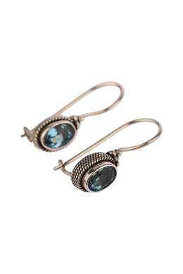 Oval Blue Topaz Silver Earrings