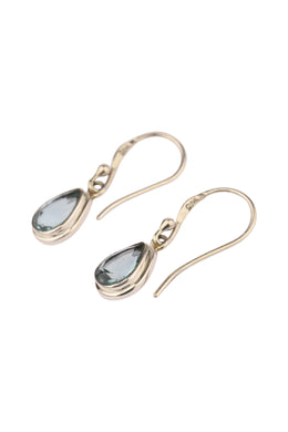 Blue Topaz Teardrop Silver Earrings