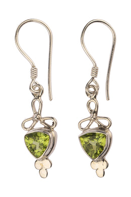 Three Petal Trillion Peridot Silver Earrings