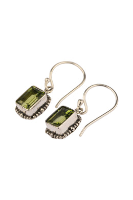 Peridot Cushion Droplet Silver Earrings