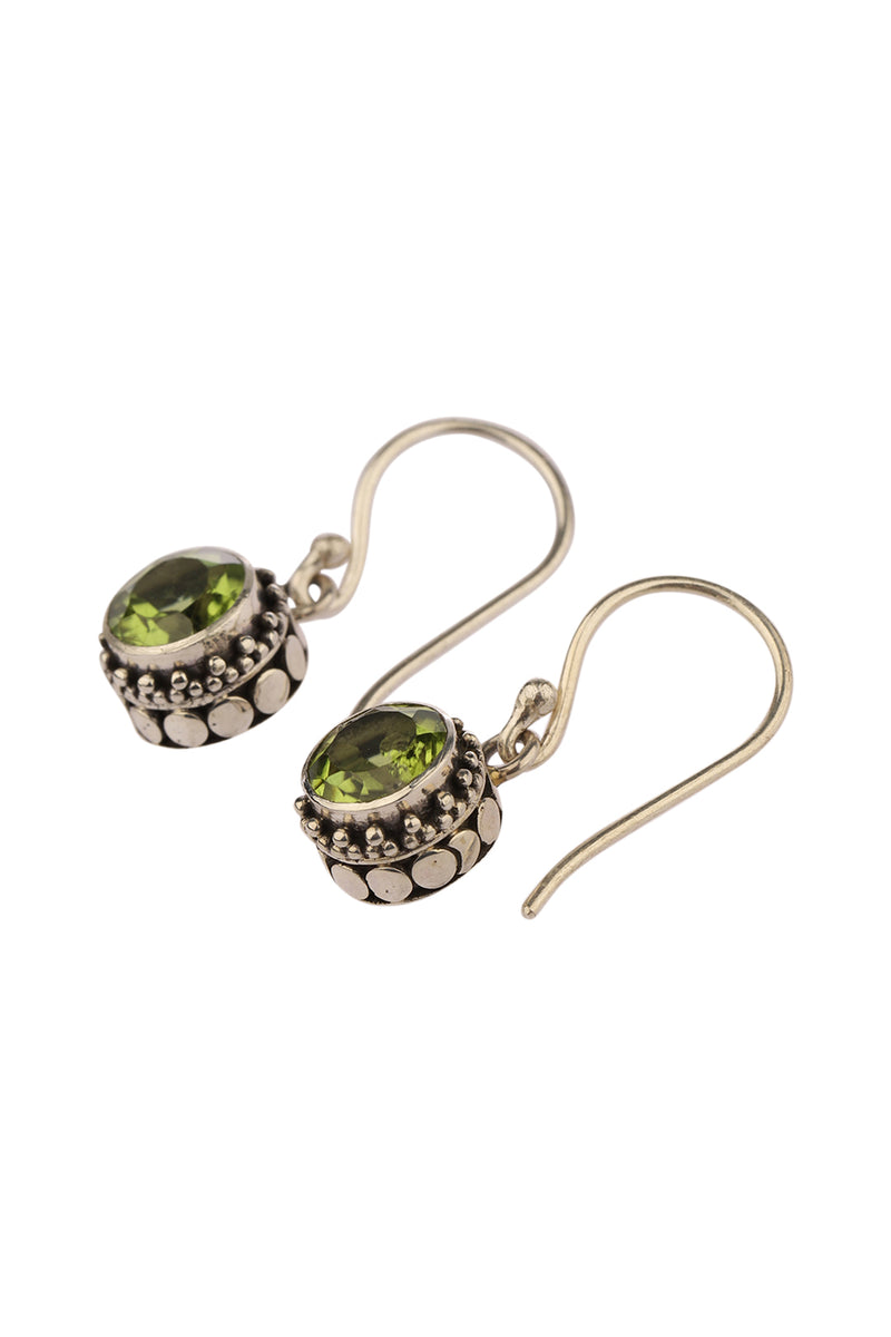 Round Peridot Droplet Silver Earrings