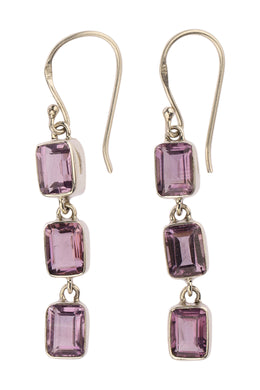 Triple Amethyst Droplet Silver Earrings