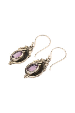 Round Amethyst Balinese Silver Earrings