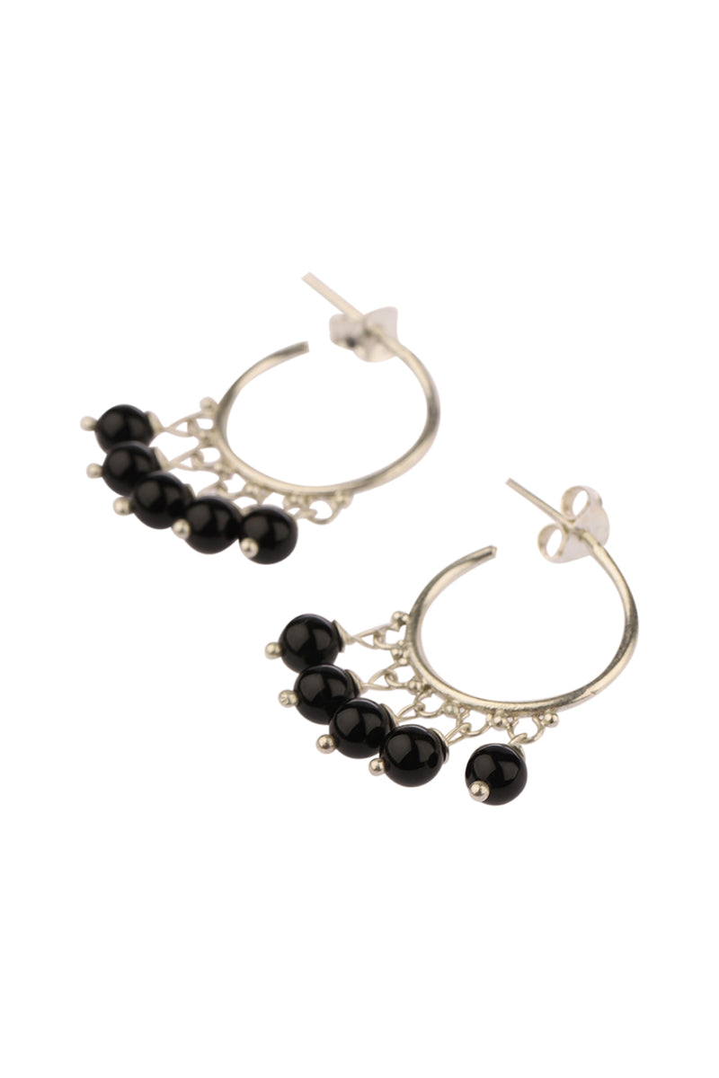 Black Onyx Gem Drops Hoop Silver Earrings