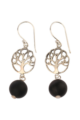 Tree Of Life Black Onyx Silver Earrings