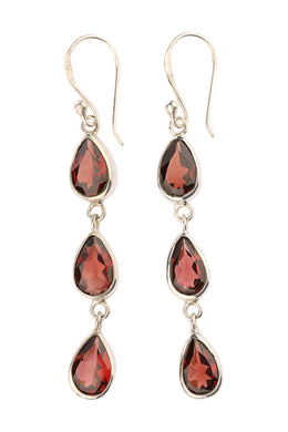 Triple Garnet Teardrop Silver Earrings