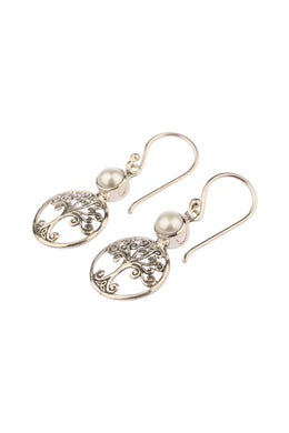 Tree Of Life Freshwater Pearl Silver Earrings