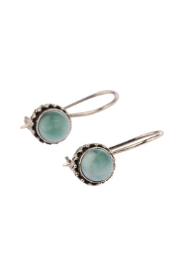 Round Larimar Hook Silver Earrings
