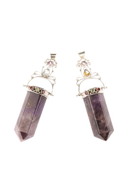 Statement Amethyst Obelisk with Assorted Stones Pendant