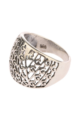 Domed Open Filigree Silver Ring