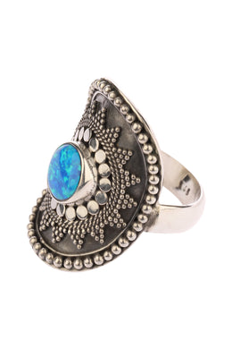 Tribal Opalite Shield Silver Ring