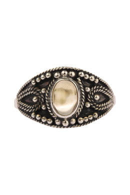 Citrine Oval Tribal Dots Silver Ring