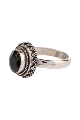Raised Oval Black Onyx Fine Silver Ring