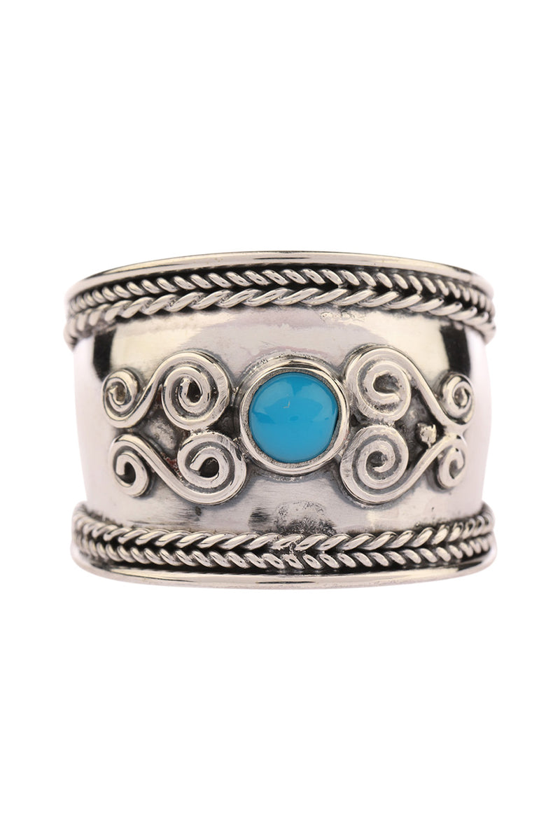 Turquoise Swirl Shield Silver Ring