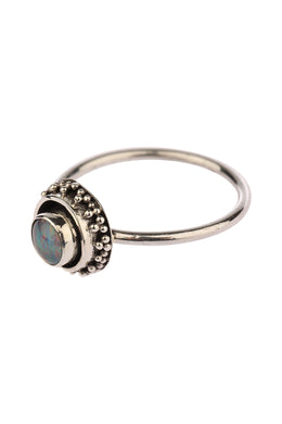 Round Opal Fine Oxidised Silver Ring