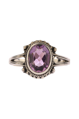 Tribal Oval Amethyst Silver Ring