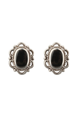 Filigree Edge Oval Silver Stud Earrings