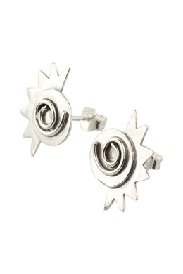 Swirl & Spike Silver Stud Earrings
