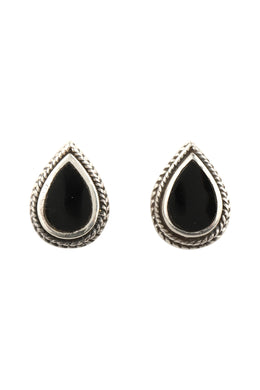 Teardrop Gemstone Twist Edge Silver Stud Earrings