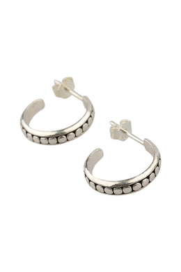 Dots High Shine Silver Hoop Stud Earrings