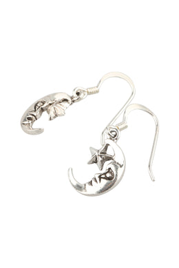 Crescent Moon Face & Star Silver Earrings