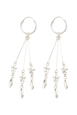 Star Droplet Sleeper Hoop Silver Earrings