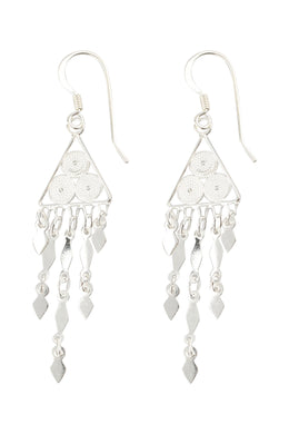 Fine Filigree Triangle Droplet Silver Earrings