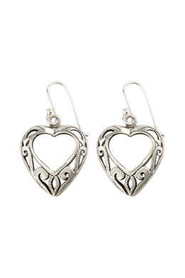 Open Heart Filigree Silver Earrings