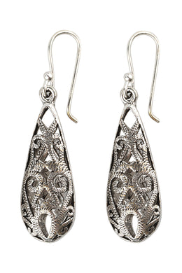 Long Teardrop Filigree Silver Earrings