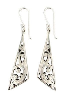 Filigree Swirl Point Silver Earrings