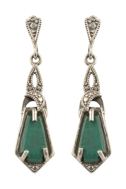 Ornate Fine Gemstone Droplet Silver Earrings