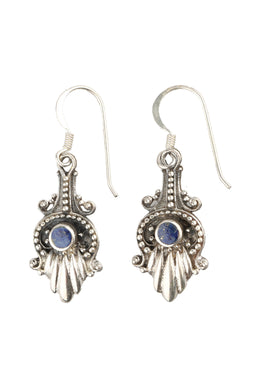 Ornate Tribal Mini Dot Silver Earrings