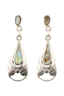 Layered Open Paddle Silver Earrings