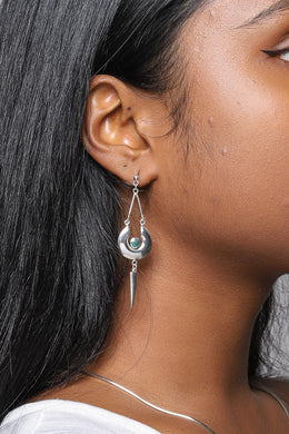 High Shine Basket & Spike Silver Earrings