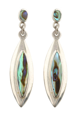 Raised Gem Inlay Silver Earrings