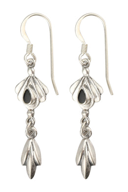 Gemstone Petal Fan Silver Earrings