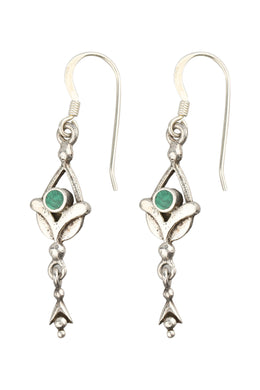 Gemstone Tulip Droplet Silver Earrings