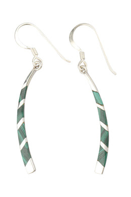 Stripe Inlay Curve Paddle Silver Earrings