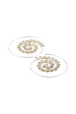 Spiral Thread Brass Scallop Silver Earrings