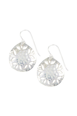 Pebbled Petal Cut Out Silver Earrings
