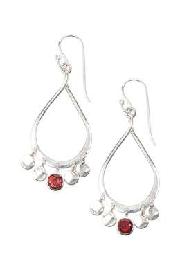 Open Teardrop Loop with Disc Drops Silver Earrings