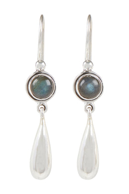 Round Gemstone & Silver Droplet Earrings