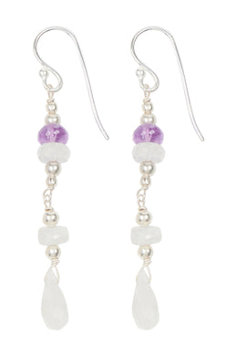 Multi Bead & Gem Droplet Silver Earrings