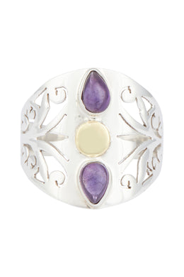 Filigree Cut Out Double Amethyst Teardrop Silver Ring