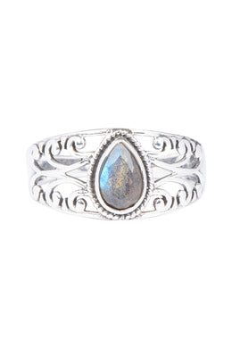 Cut Out Swirl Labradorite Teardrop Silver Ring