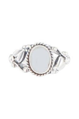 Intricate Garden Moonstone Oval Silver Ring