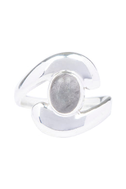 Cupped Oval Stone Swirl Silver Ring