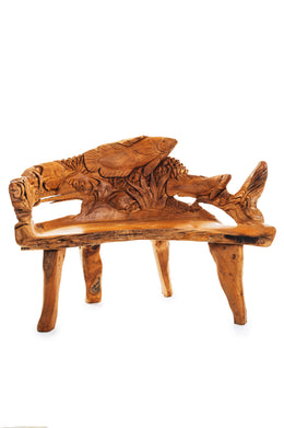 Fish Carving Teak Root Bench